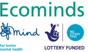 Ecominds logo, with the Mind charity and National lottery logos